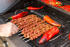 Barbecuing Skewers and red Chillies Stock Photo