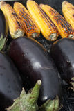 Barbecuing vegetables on charcoal fire closeup image. Stock Photography