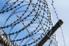Barbed And Razor Wire Fence Royalty Free Stock Photos
