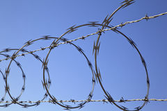 Barbed Concertina Wire on Fence, Security Device Stock Photos