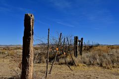 Barbed gate in the desert. A barbed wire gate stretches across a dusty desert trail Stock Photo