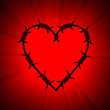 Barbed spiky heart red light flare. Love without freedom. Bounded heart shaped barbed frame illuminated with lighting project a powerful halo. Empty center for royalty free illustration