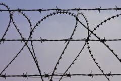 Barbed wire. Close up of barbed wire against a colorful sky Royalty Free Stock Photography