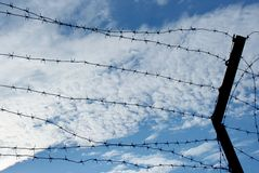 Barbed wire. With cloudy blue sky as a background. Landscape orientation Stock Images