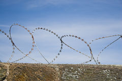 Barbed wire. On top of a wall forbids entry Stock Photos