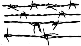 Barbed wire. Isolated Barbed wire collection on white background Royalty Free Stock Photo