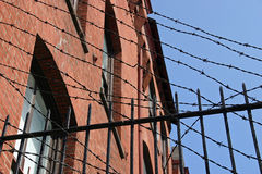 Barbed Wire. A building in Philadelphia surrounded by barbed wire royalty free stock images