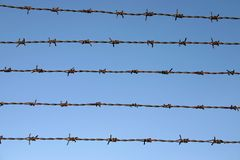 Barbed wire. With blue sky on the background Stock Photography