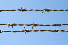 Barbed wire. Against blue sky Royalty Free Stock Photography