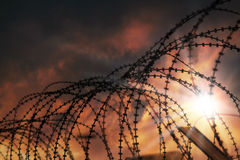 Barbed wire. The barbed wire with clouds and sunblades Royalty Free Stock Photography