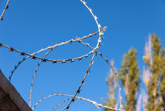 Barbed wire against the blue sky Royalty Free Stock Photos
