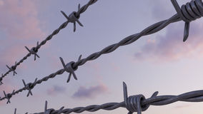 Barbed wire against evening pink and blue cloudy sky, 3d rendering. Rows of barbed wire against evening cloudy sky Stock Photos