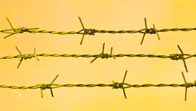 Barbed wire against a grungy old wall Stock Photo