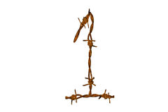 Barbed wire alphabet Stock Images