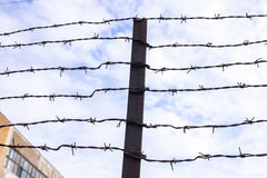Barbed wire. Also known as barb wire, less often bob wire or, in the southeastern United States, bobbed wire, is a type of steel fencing wire constructed with Stock Photography