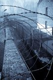 Barbed-wire around prison area Stock Images