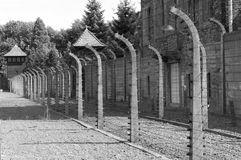 Barbed wire at Auschwitz stock photography