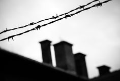 Auschwitz-Birkenau concentration camp. Barbed wire in Auschwitz-Birkenau concentration camp Royalty Free Stock Image