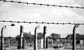 Auschwitz-Birkenau concentration camp. Barbed wire in Auschwitz-Birkenau concentration camp Royalty Free Stock Images