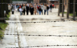 Auschwitz-Birkenau concentration camp. Barbed wire in Auschwitz-Birkenau concentration camp. In background there is blurred tourist group Royalty Free Stock Photo