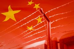 The barbed wire on the background of 3D illustration of the developing Chinese flag stock illustration