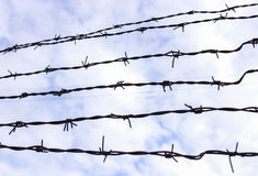 Barbed wire on a background of white-blue sky. Barbed wire, also known as barb wire, less often bob wire or, in the southeastern United States, bobbed wire, is a Stock Images