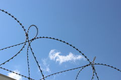 Barbed wire barrier Royalty Free Stock Images