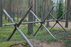 Barbed wire barrier Stock Images