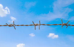 Barbed wire and blue sky Stock Image
