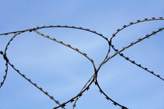 Barbed wire on blue sky background. Stock Images