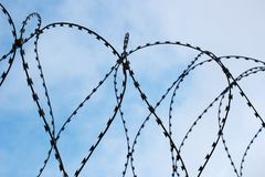 Barbed wire and blue sky, a symbol of imprisonment. Barbed wire and blue sky, and symbol of imprisonment Stock Photo
