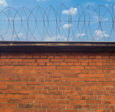 Barbed wire on a brick wall Royalty Free Stock Photo