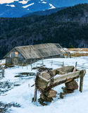 Barbed wire and cabin Royalty Free Stock Image