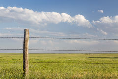 Barbed wire cattle fence Stock Photos