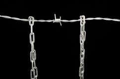 Barbed wire and chain Stock Photos