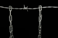 Barbed wire and chain Royalty Free Stock Photo