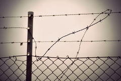 Barbed wire and chain link fence Royalty Free Stock Photo