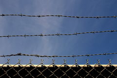 Barbed wire and Chain Link Fence Stock Image