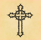 Barbed wire christian cross on paper Royalty Free Stock Images