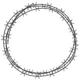 Barbed wire circle border. Vector illustration isolated on white background Stock Photos