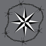 Barbed wire circle frame windrose navigation symbol.  Stock Photos