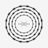 Barbed Wire of Circle Shape. Vector Silhouette. Crown of Thorns Stock Image