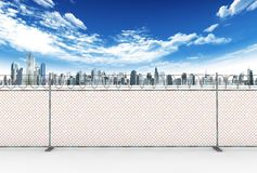 Barbed wire and city Stock Image