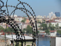 Barbed wire and city in istanbul Stock Photos