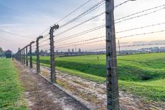 Barbed wire in a concentration camp in Auschwitz (Poland) Royalty Free Stock Photo