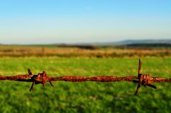 Barbed Wire in Countryside. Rusty barbed wire fence in close-up with a farmland field and sky as background. This might suggest a concept of danger, obstruction Royalty Free Stock Images