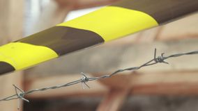 Barbed wire and crossing line, winter revolution barricade. Stock footage stock footage