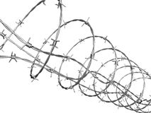 Barbed wire curled in spiral. With clipping path Royalty Free Stock Photography