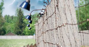 Barbed Wire in Dachau Concentration Camp stock images