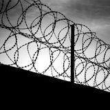 Barbed wire on dark fence Royalty Free Stock Images